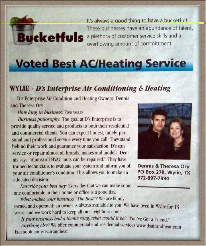 Voted Best AC Company by City of Wylie